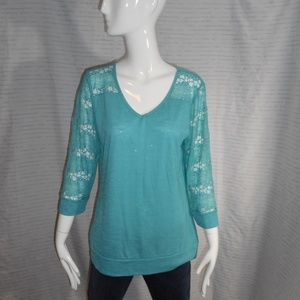 NEW! ~Vanity~ Teal Blue 3/4 Lace Sleeves Blouse